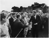President Kennedy Greets Peace Corps Volunteers on the White House South Lawn Stock Photos