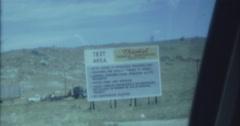 Thiokol Test Areas Desert Rockets Sign 60s 16mm Stock Footage
