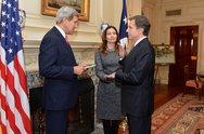 Secretary Kerry Swears in Antony Blinken as Deputy Secretary of State Stock Photos