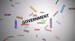 Government Word Cloud (60fps) Stock Footage