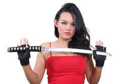 woman samurai - stock photo