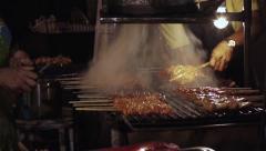 Stock Video Footage Thai Chicken Skewers Barbecue Shish Kebab Stock Footage
