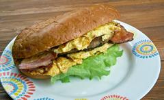 Enormous omelet sandwich Stock Photos