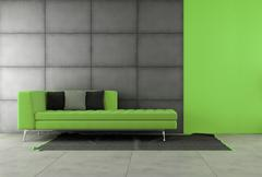 black and green living room - stock illustration
