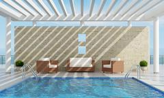 summer house with pool - stock illustration