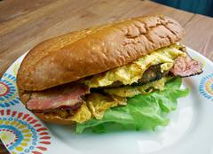 enormous omelet sandwich - stock photo