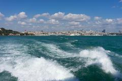 view of istanbul from the ferry - stock photo