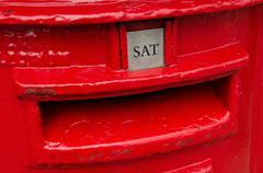 Detail of red metal british post box. Kuvituskuvat