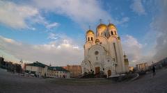 Church of the nativity, krasnoyarsk, hyperlapse Stock Footage