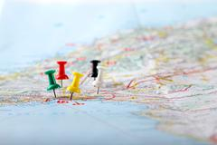 Travel destination points on a map Stock Photos