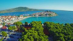 Primosten beaches aerial shot Stock Footage