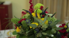 Bouquet of flowers in a vase, flower decorations Stock Footage