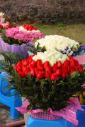 Huge bouquet of roses in the flower market Stock Photos