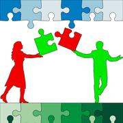 Stock Illustration of jigsaw puzzle hold silhouettes of men and women green and red. vector illustr