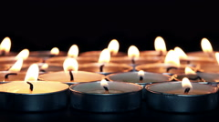 Flaming Candles Focus Changed. 4K Stock Footage