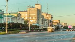 Ekaterinbur Lenina Street Road Traffic TimeLapse Stock Footage