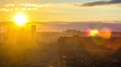 Ekaterinburg Sunset Over City, in the homes of the light is switched Stock Footage