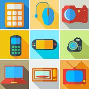 collection modern flat icons computer technology with long shadow effect for  - stock illustration
