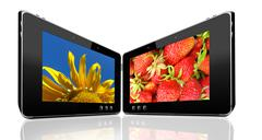 Two tablets with motley pictures Stock Illustration