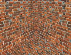 angle in the room with walls from the red brick - stock illustration