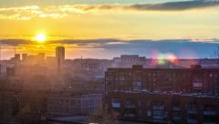 Ekaterinburg Sunset Over City, in the homes of the light is switched(4k) Stock Footage