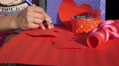 Woman Writing Love Confession in Valentine Card Stock Footage
