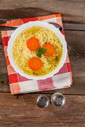 broth - chicken soup. - stock photo
