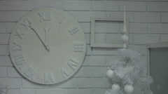 Room decorated in white Christmas tree and white clock, Christmas white room Stock Footage