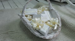 decorated wicker white basket filled with christmas gifts, decor - stock footage