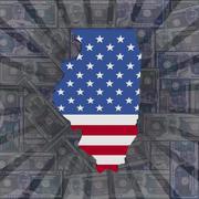 illinois map flag on dollars sunburst illustration - stock illustration
