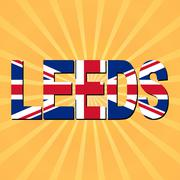 leeds flag text with sunburst illustration - stock illustration