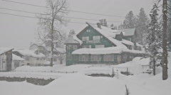 Heavy snowfall in the background at home Stock Footage