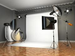 Photo studio with lighting equipment. flashes, softboxes and reflectors. Stock Illustration