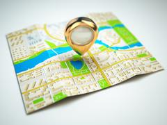 Navigation concept. gps map of the city and golden pin. Stock Illustration