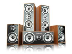 Group of audio speakers. loudspeakers isolated on white. Stock Illustration