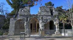 Temple de Diane - Nimes France Stock Footage