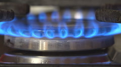 Gas burn blue flame light butane energy symbol fossil fuel crisis conserve cook - stock footage