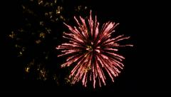 Six shots of fireworks on the black background - stock footage