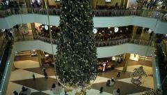 Shopping mall with christmas decoration - stock footage