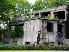 demolished westerplatte barracks - stock photo