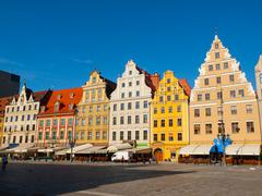 Market square buildings in wroclaw Stock Photos