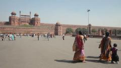 India Delhi People Visit Red Fort 2 - stock footage