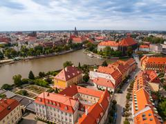 aerial view of wroclaw - stock photo