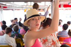 Tourist traveling by public transport. - stock photo