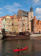 old ship on motlawa river in gdansk historical centre - stock photo