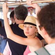 Tourist traveling by public transport. Stock Photos