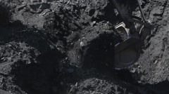 Coal mining  by hydraulic excavator in open pit Stock Footage