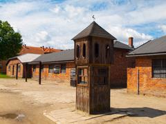 Watch tower in concentration camp Stock Photos