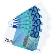 twenty euro banknotes - stock illustration