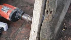 Closeup of Carpenter use equipment to repare the furniture Stock Footage